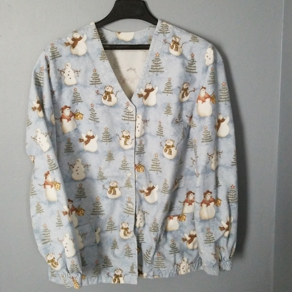 Mad About Scrubs Jackets & Blazers - Christmas Snowmen Scrub Jacket  sz L